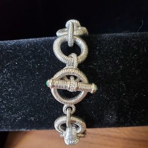 925 Textured Silver and CZ Toggle Bracelet